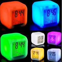 7 LED Wecker Farbwechsel Uhr Würfelwecker Alarm Digitaler Kalender Thermometer,~
