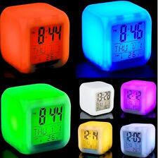 7 LED Color Change Digital Alarm Clock Projection with Thermometer Date Time New