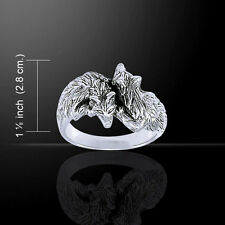Wolf Pair .925 Sterling Silver Ring by Peter Stone Jewelry