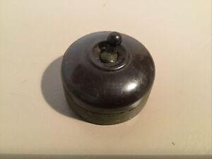Genuine Antique/Vintage Crabtree Round Bakelite Light Switch #745