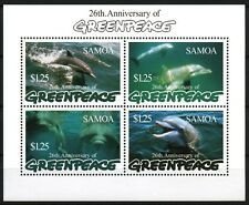 Dolphins minisheet of 4 mnh stamps 1997 Samoa Greenpeace 26th Anniversary