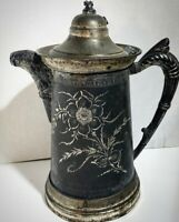 Antique Silver Tea Kettle - Rodgers Quadruple Collectible - Etched Flowers & Lid