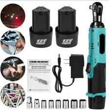 85Nm 3/8'' 90° Electric Cordless Right Ratchet Angle Wrench Kit w/2 Batteries UK
