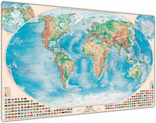 Physische Weltkarte, 200x130 cm, deutsch, Leinwand-Druck