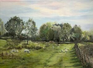 A4 Print of Original oil painting art landscape English meadow home decor