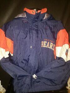 Vintage Chicago Bears Football Starter Winter Jacket Full Zipper Large Hood Rare