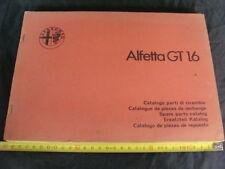 CATALOGO PARTI DI RICAMBIO ORIGINALI ALFETTA GT 1.6 1976 ALFA ROMEO