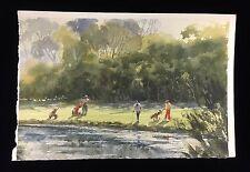 Original Watercolour Painting Robert Wade (Aust. 1930-) Golfers at Water Edge
