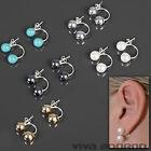 Oreille Piercing Double Perles Argent 925 boucles d'OREILLES Z472