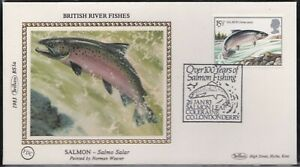 BS1.83) GB, Benham Silk Cover 1983, Set of 4, British River Fishes, Salmon, Pike