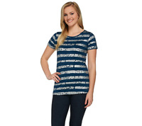 Lisa Rinna Collection Striped Foil Printed Knit Top Color Navy Size Small