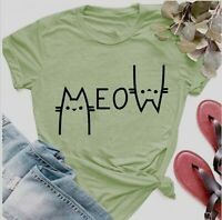 Women Meow Funny Cute Cat Summer Blouse Top Floral Crew Neck Tee Ladies T-Shirt