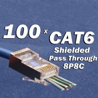 100PCS CAT6 Shielded EZ RJ45 Pass Through Modular Plug Connector Open End CAT 6