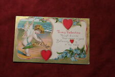 To My Valentine Embossed Postcard - Cupid Writing in Sand