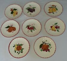 """Blue Ridge Country Fair Red Lot of 8 Salad Plates 8 1/2"""" Complete Set!"""