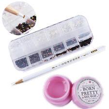 3 Pcs/Set Nail Art Rhinestones Black White Jelly Decors Dotting Pen w/ Glue Tool