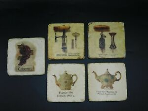 French Wine Label Tile Coasters  Set of 5 Coasters,  vintage style.