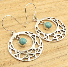 "Simulated LARIMAR Gem Earrings 2"", 6.5 Grams ! Silver Plated Jewellery"
