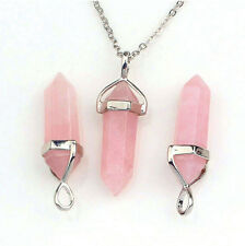 Rose Pink Natural Crystal Quartz Healing Point Chakra Stone Pendant For Necklace