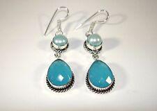 """AB Aqua Blue Chalcedony Teardrop River Pearl .925 Silver Earrings Hook 2.5"""" 60mm"""
