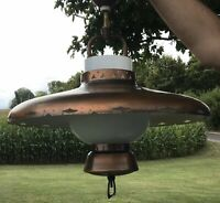 "Vintage MCM Brushed Copper UFO Hanging Lamp Progress Mfg Co USA 18 X 26"" Project"