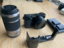 Sony Alpha α6000 24.3MP Camera Kit with E PZ 16-50mm & 55-210 & case & Batteries
