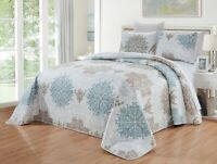 Blue, White, Grey Scroll Quilt Reversible CAL King Size Coverlet Set Bedspread
