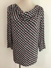 Talbots Cowl Neck Top T-Shirt Tee Blouse Black, White & Red Plaid Size M