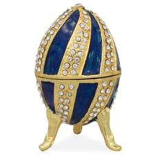 Crystal Spire on Blue Enamel Royal Inspired Russian Egg 2.5 Inches