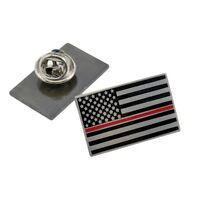 Thin Red Line Lapel Pin Fire Department Firefighter Subdued American US Flag