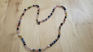 """Collectible HAND CRAFTED  MIXED BEADS- STONE,GLASS,CRYSTAL  NECKLACE 20"""" LONG."""