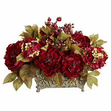 "Artificial 18"" Burgundy Red Peony & Hydrangea Arrangement Antique-Style Planter"