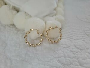 """10k Yellow Gold and Pearl Twisted Hoops, 1.25"""""""