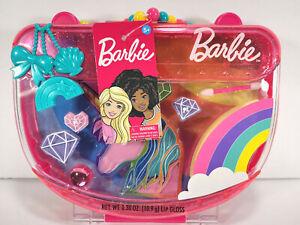 Barbie Super Sweet Makeup Case with Lip Gloss Rings Applicator Unicorn Rainbow