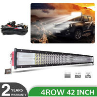 """Quad row 42"""" inch 2400W CREE CURVED LED LIGHT BAR Combo OFF ROADS SUV FORD 40"""""""