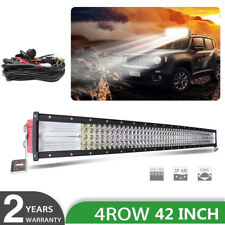 "Quad row 42"" inch 2400W CREE CURVED LED LIGHT BAR Combo OFF ROADS SUV FORD 40"""