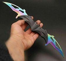 DARK KNIGHT SPRING ASSISTED DUAL BLADE BATMAN TACTICAL FOLDING KNIFE RAINBOW