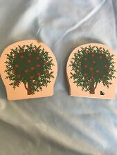 Vintage Cats Meow Village Apple Tree Retired Handcrafted Collectible Set Of 2