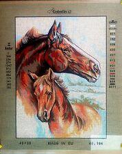 """Needlepoint tapestry canvas.Horses 40x50 (16"""" 00006000 x20"""") Gobelin L 40.104"""