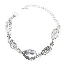 Cristal Joyería Bracelet De Plata Y Hoja De Lágrima Piedra Transparente Blanco Navidad Reino Unido