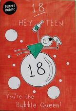 Hey teen you're the bubble Queen! Purple Ronnie 18th Birthday card, brand new