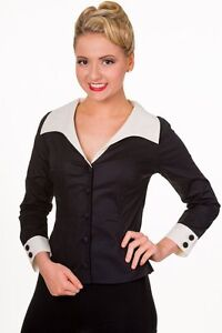 1950s Style Ladies Shirt, librarian, fitted, black rockabilly pinup BANNED 1950s