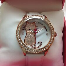 NWT Betsey Johnson Rose Colored Cat Face/White Leather Band Women's Watch  $135