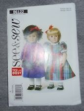 "See & Sew Dress 18""  DOLL CLOTHES Fabric material Sewing Pattern #B6122"