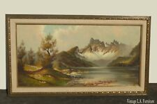 Original Vintage Oil on Canvas Mountain Lake Picture Painting by Martin Wijmer