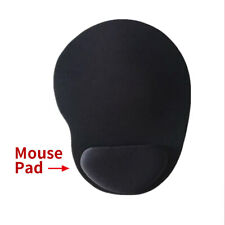 BLACK ANTI-SLIP MOUSE MAT PAD WITH FOAM WRIST SUPPORT PC & LAPTOP