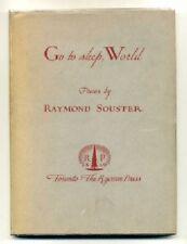 Raymond SOUSTER. Go To Sleep World. 1947 Hardcover w/dustjacket Scarce 1st ED