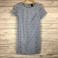 Ann Taylor Womens Sheath Dress Size 0 Blue Short Sleeve Lace Overlay Above Knee