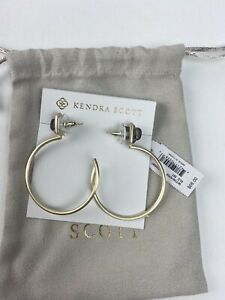 Kendra Scott Purple Mica Pepper Hoop Gold Earrings NWT