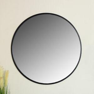 Extra large round black metal framed wall mirror vintage industrial chic display